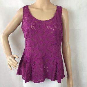 CAbi Purple Lace Peplum Top Style 131 Size M